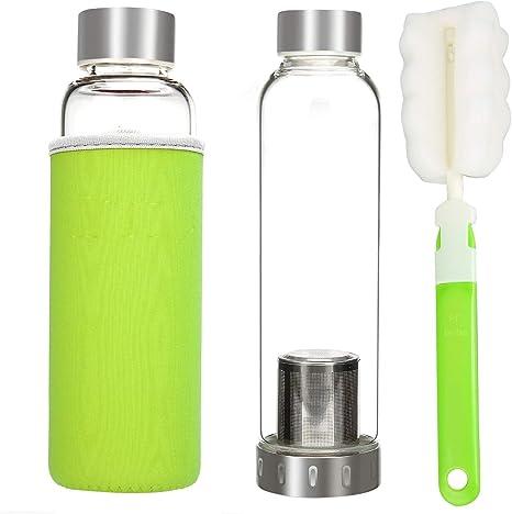Botella de agua de vidrio hecho de medio ambiente cristal de borosilicato, portátil botella de agua de cristal con nailon, colores, 360ML with Tea Infuser, Green Sleeve: Amazon.es: Deportes y aire libre