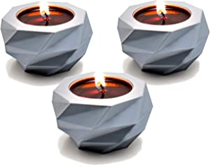 Verydise Tealight Candle Holders/Set of 3/Multiple Colors/Geometric Modern Style/Home Decor/Centerpiece/Decorative Unique Design/ for Tables/Desks/Countertops/Fireplace (Silky Silver)