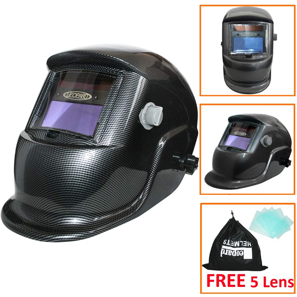 Leopard LEO-WH86 Solar Powered + Auto-Darkening + Grinding Function + 9-13 Shade Welding Helmet Mask (Phoenix) with 5 Free Spare Lenses Touch Global Ltd