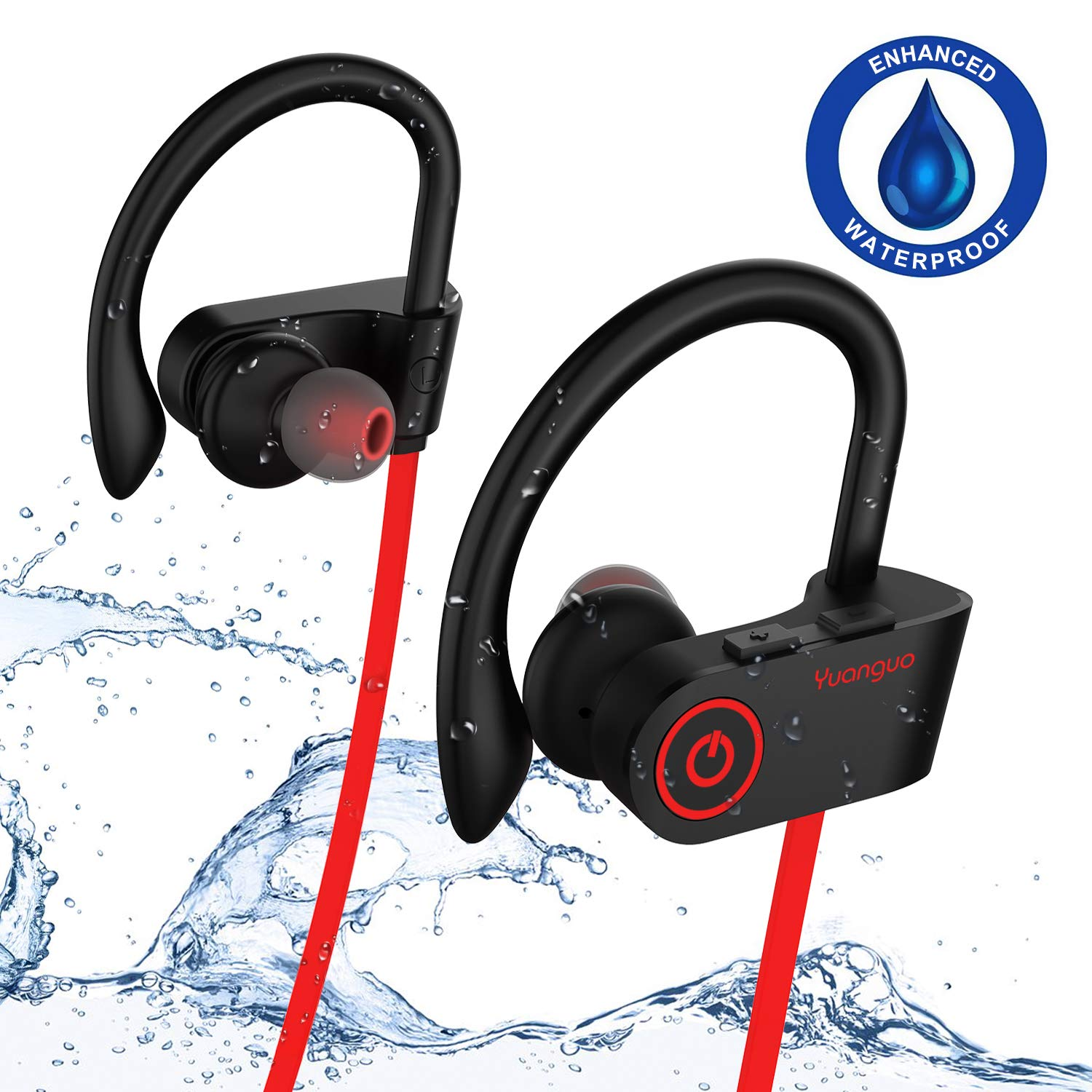 Bluetooth Headphones, IPX7 Waterproof HolyHigh Wireless Earbuds Headphones with Mic,Surround Stereo Secure Fit, Sport Running Workout Bluetooth Wireless Earbuds Headset Earphones for Android iOS Red