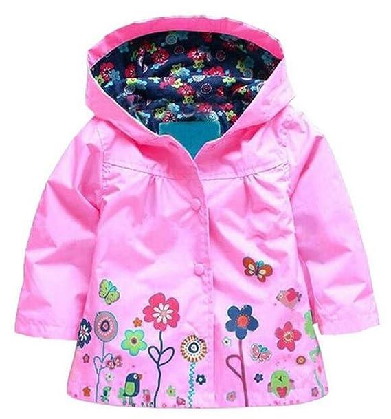a1ce3f483 BELLE-LILI Baby Girl Waterproof Hooded Raincoat Flower Print Rain ...