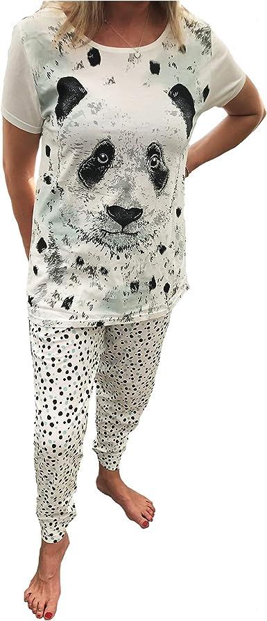Conjuntos de Pijamas Panda para Mujer - Tallas Grandes 44/46 Negro/Blanco