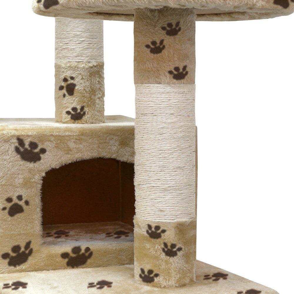 arbre a chat griffoir 175 cm 2 grottes - beige