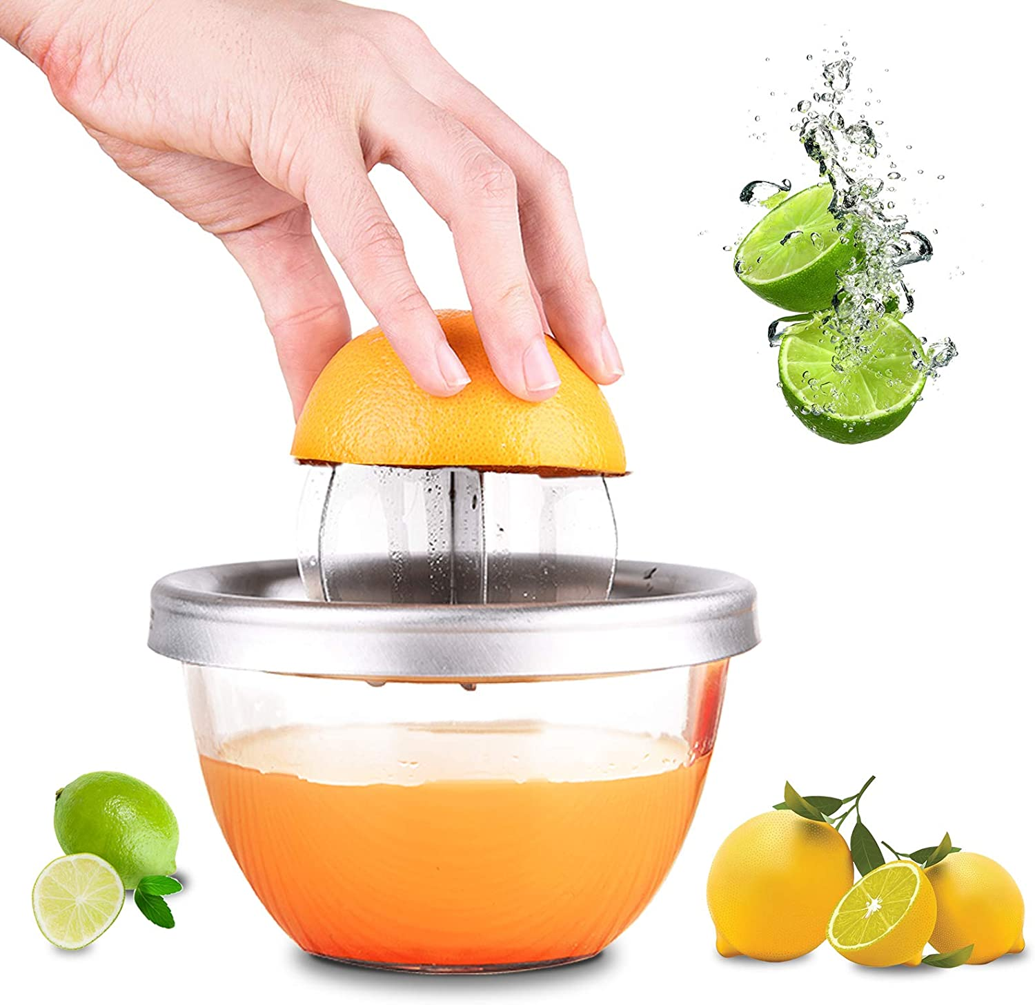 Citrus Lemon Orange Squeezer,OCOOKO 304 Stainless Steel Manual Fruit Juicer with 280ml Bowl Container for Oranges Lemons Fruit Home Made Juice in Kitchen