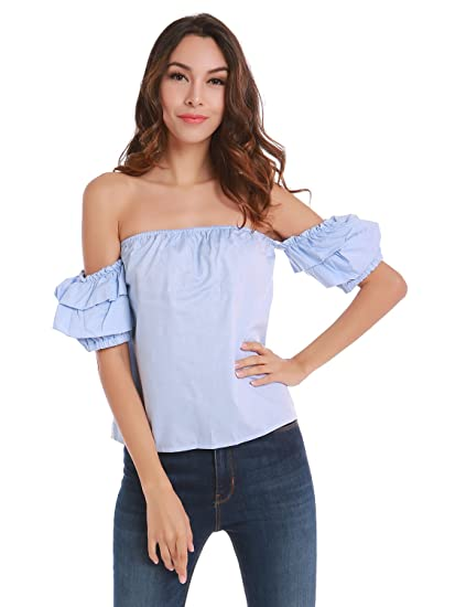 cc703010482 Women's Off The Shoulder Ruffle Blouse Tops Shirt, Large, Blue at ...