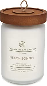 Chesapeake Bay Candle Scented Candle, Beach Bonfire (Cedarwood Oak Moss), Large Jar
