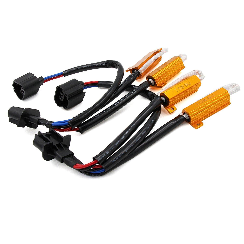 Alla Lighting 9005 9006 HB3 HB4 9012 50W 6Ohm Error Free LED Light Load Resistor Adapter Fix Flashing Blinking Canbus Bypass Wiring Harness Decoder for Headlight Headlamp Daytime Running Light