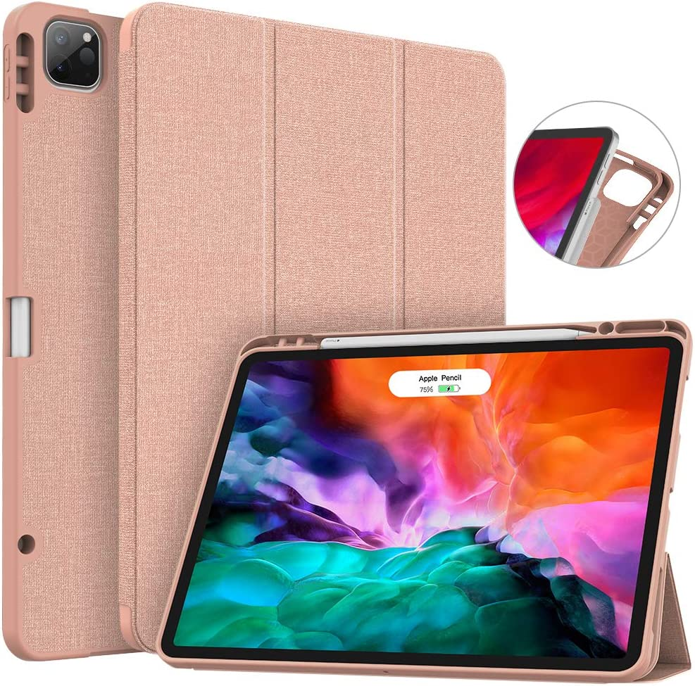 Soke New iPad Pro 12.9 Case 2020 & 2018 with Pencil Holder - [Full Body Protection + Apple Pencil Charging + Auto Wake/Sleep], Soft TPU Back Cover for 2020 iPad Pro 12.9(Rose Gold)