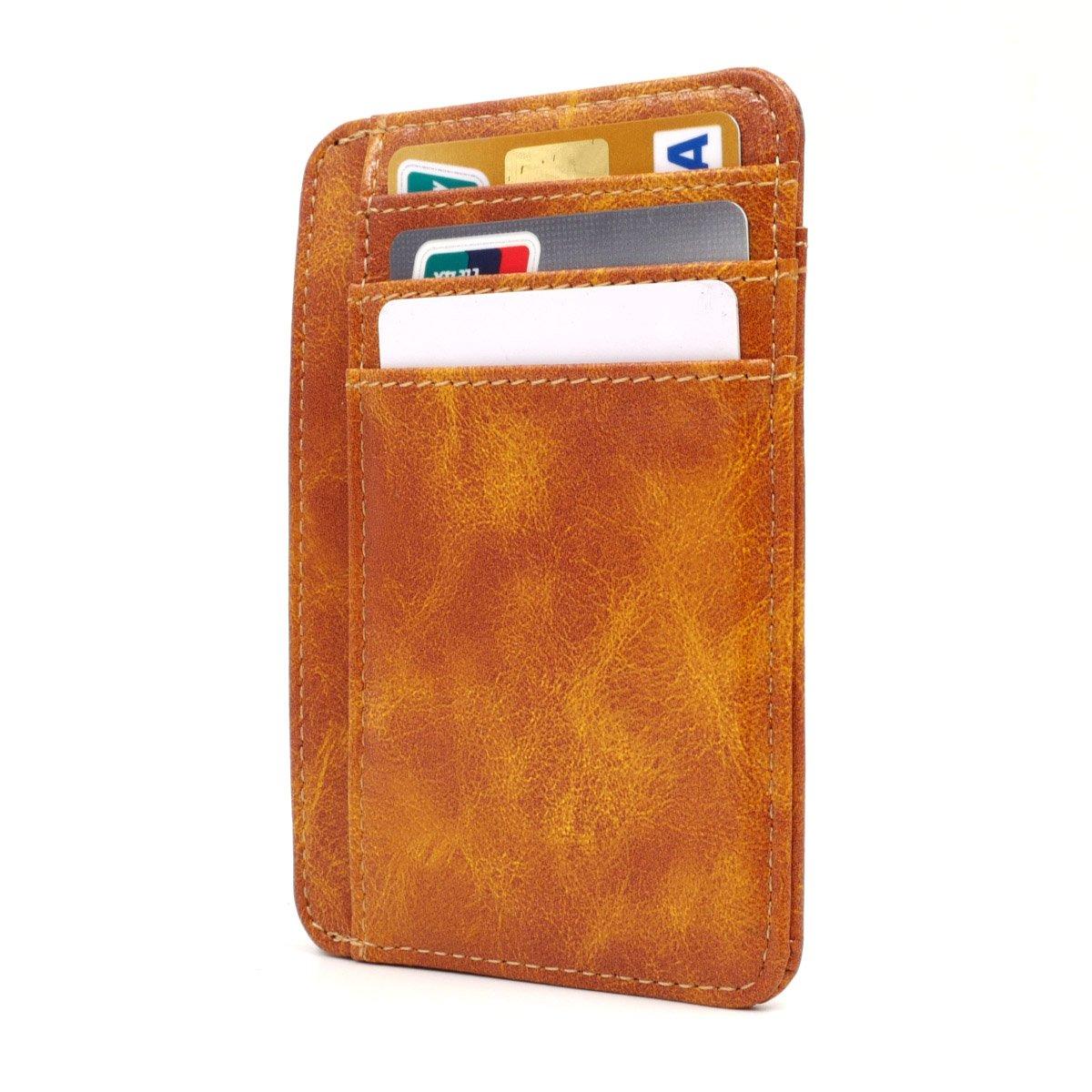 Kandouren Slim Minimalist RFID Leather Wallets,Front Pocket Wallet,Credit Card Holder for Men /& Women,Money Clip