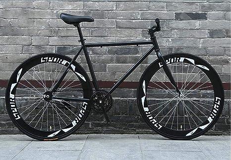 LHSUNTA Bicicletas de 26 Pulgadas, Sistema de Frenos Fixie de Espalda pelada, Cuadro de Acero con Alto Contenido de Carbono, Carreras de Bicicletas de Carretera, Hombres y Mujeres Adultos: Amazon.es: Deportes y