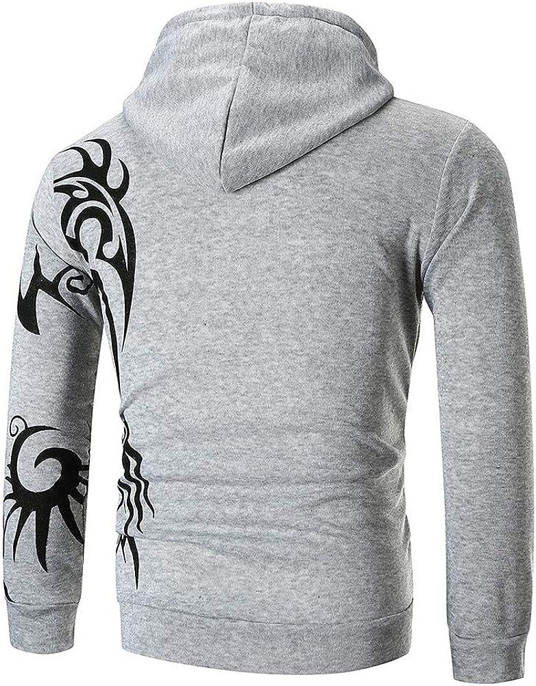 Mens Hipster Printed Slim Fit Long Sleeve Hoodies Sweatshirt Pullover Lightweight Shirts Tops