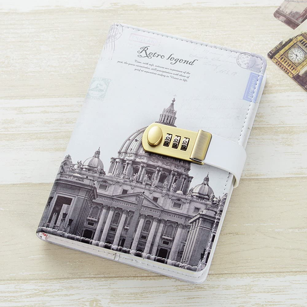 JunShop A5 PU Leather Cover Retro Password With Lock Diary Combination Lock Journal Diary Students Office Notebook Notepad (Style 1)