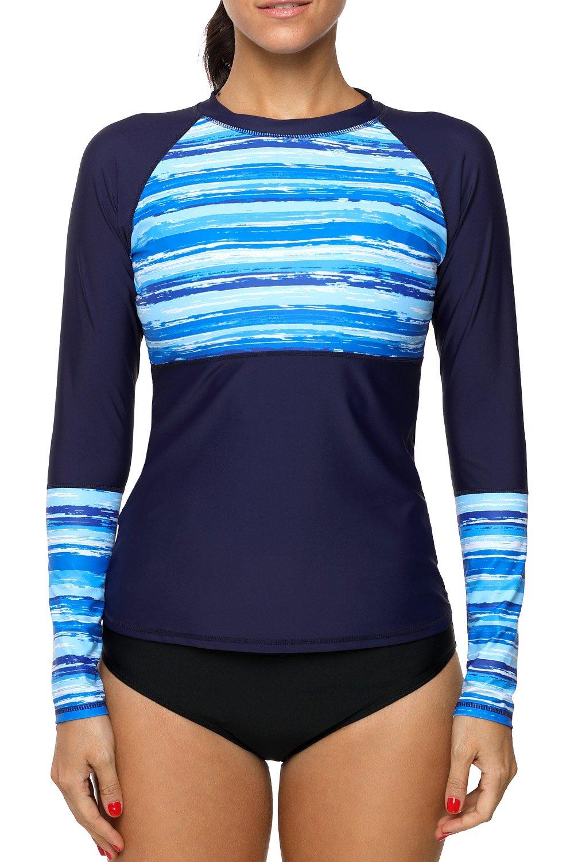 Sociala Print Long Sleeve Swim Shirt Women Rashguard Swimwear Rash Guard Top M