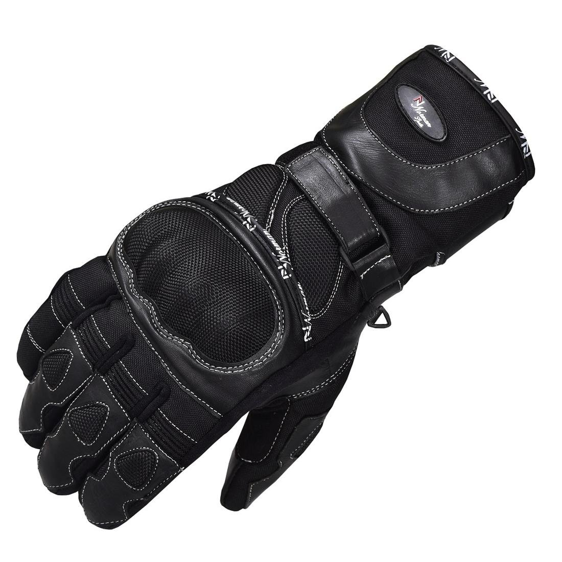 WATERPROOF MOTORCYCLE MOTORBIKE TOURING BIKE GLOVES LEATHER/CORDURA (XL)