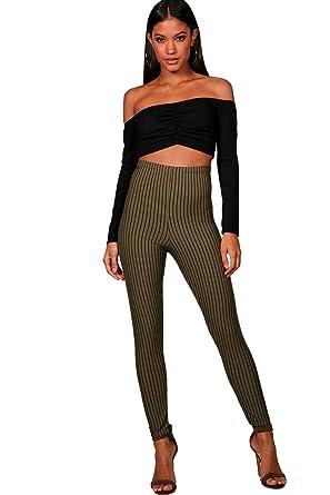 Femmes Kaki legging côtelé taille haute à rayures Rachel - 6  Amazon ... 26db4a26e13