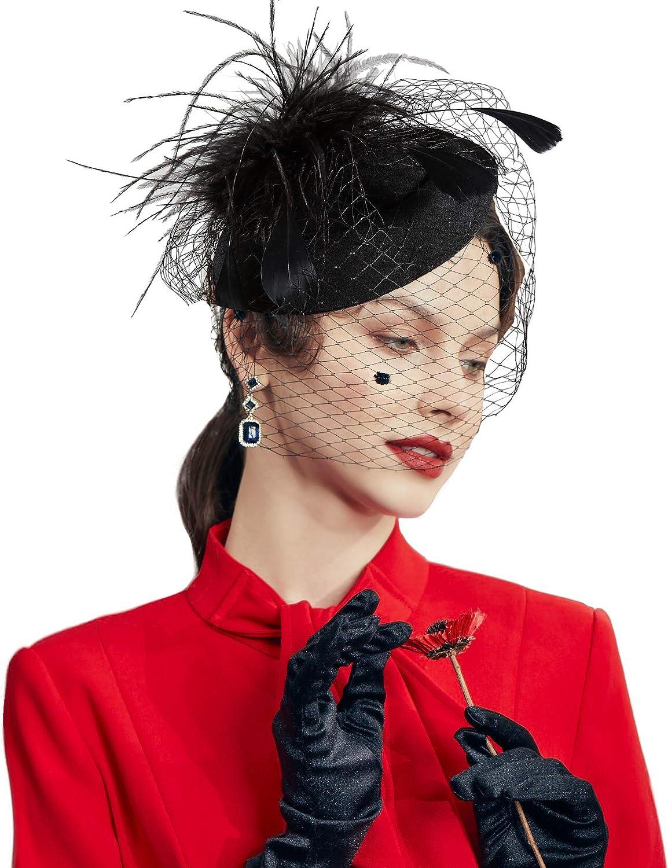 Amazon Com Babeyond Women S Fascinators Hat Hair Clip Pillbox Hat Tea Party Fascinator Hat With Veil Headband For Cocktail Wedding Hair Accessories Black Beauty