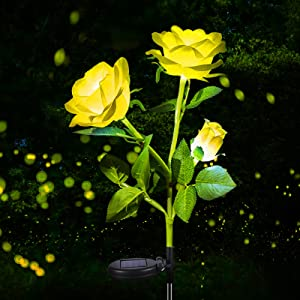 Garden Solar Lights Decorative 1 Pack, Rose Solar Garden Stakes Light with 3 Flowers,Solar Powered Flowers Light Dusk to Dawn, Solar Flowers Lights Outdoor IP65 Waterproof for Garden Yard Decoration