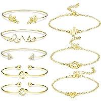 BESTEEL 8 PCS Bracelets pour Femmes Filles Amour Noeud Joli Bracelet Ouvert Manchette Bracelet Ensemble Bijoux Réglable