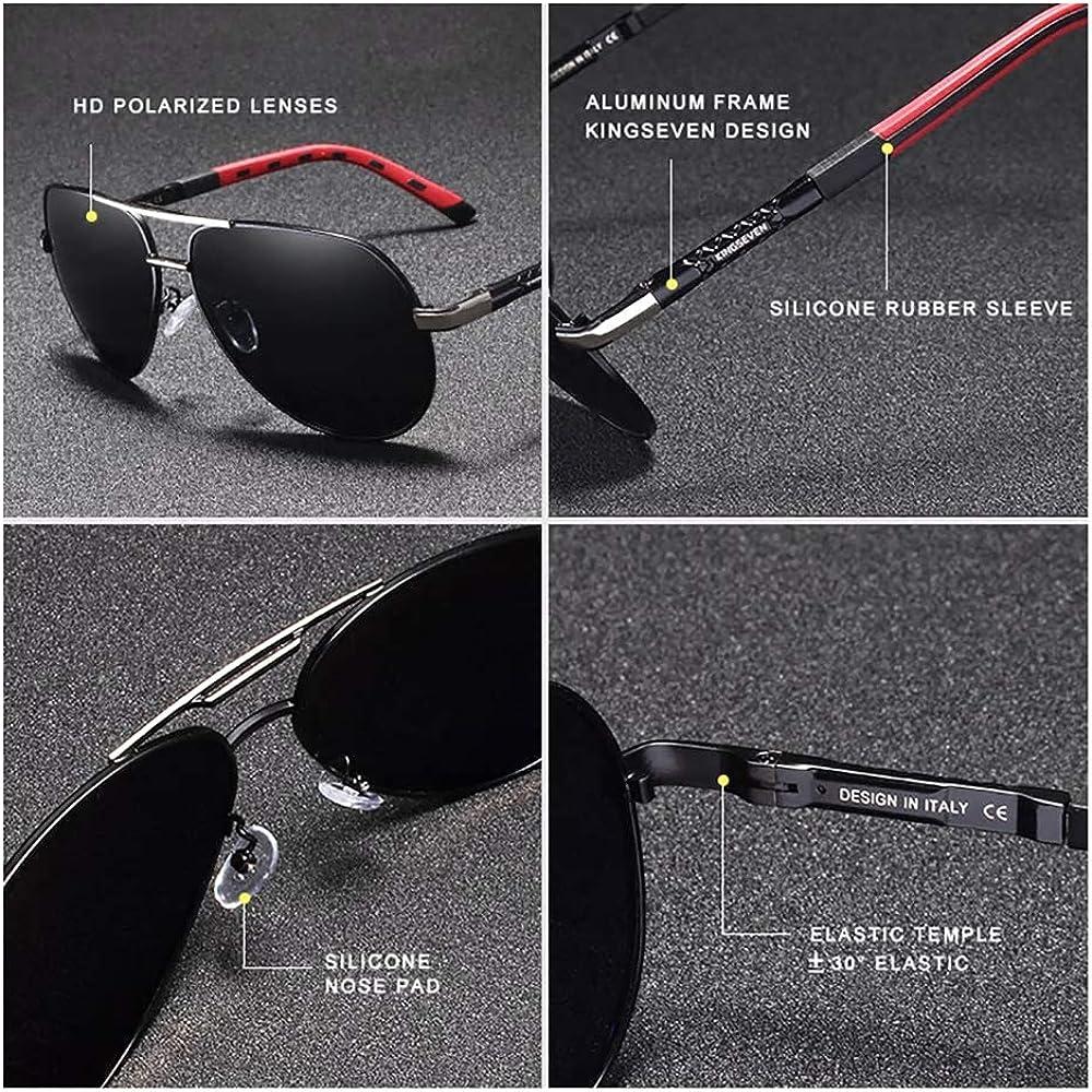 Kingseven - Gafas de sol para aviador polarizadas UV400 ultraligeras Al-Mg, Negro (Negro/Gris), Large: Amazon.es: Ropa y accesorios