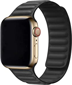 Hotflow Compatible with Apple Watch Band 38mm 40mm,Leather Link Band Replacement Strap Compatible for iWatch Series SE 6 5 4 3 2 1,Black