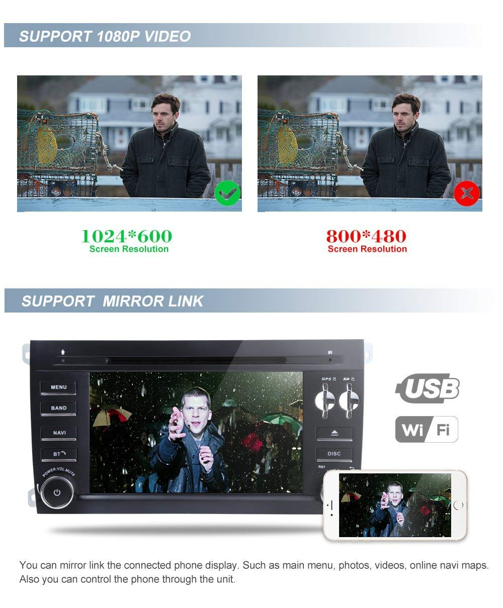 Amazon.com: MCWAUTO Compatible Porsche Cayenne 7 inch 2 Din Android 8.1 Quad Core Car Stereo 1024 HD Touchscreen Car Radio Receiver DVD GPS Navigation Free ...