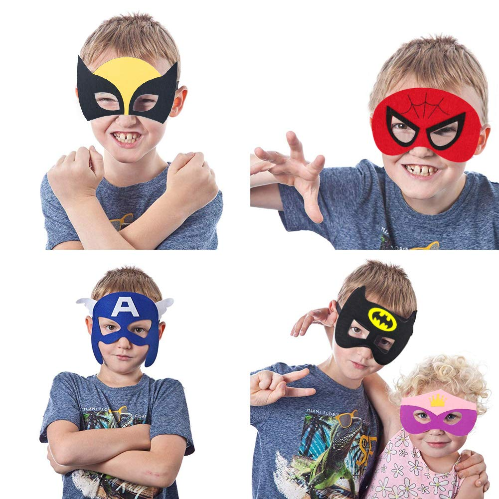 VGoodall Superhero Masks, 35 Pcs Different Superhero Party Masks Children Masquerade Cosplay Eye Masks for Ages 3-Plus Fancy Dress Up Costume Birthday Cosplay Halloween Party Gifts