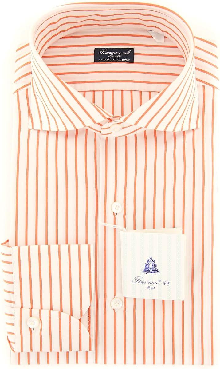 Size Medium 16 Finamore Napoli Orange Stripes Button Down Spread Collar Cotton Slim Fit Dress Shirt