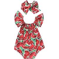BemeyourBBs Småbarn baby flicka vattenmelon tryck sparkdräkt volanger sommar ärmlös jumpsuit kläder med pannband