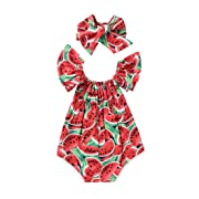 Baby Girls Watermelons Print Backless Romper Bodysuit with Headband (6-12 Month, Red)