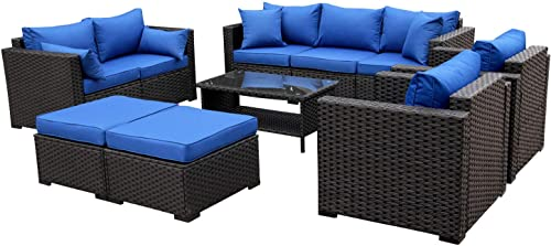 Rattaner Patio PE Wicker Furniture Set 7 Pieces Outdoor Black Rattan Conversation Seat Couch Sofa Chair Set