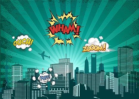Amazoncom Leowefowa 9x6ft Super City Backdrop Wham Zoom Ouch 3d