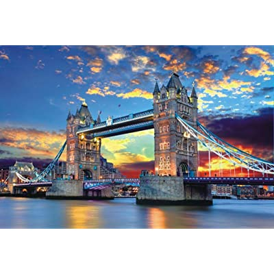 Memoryee 1000 Piece Jigsaw Puzzles for Adults Kids,London Bridge at Dusk Large Jigsaw Intellectual Educational Game Difficult and Challenge/J: Toys & Games