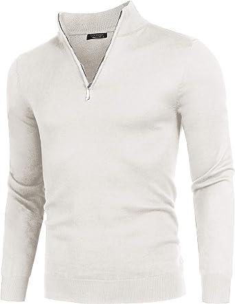 Balancora Jersey para Hombre de algodón Jersey de Punto con Cremallera Cuello Manga Larga Punto Fino Sudadera S - XXL: Amazon.es: Ropa y accesorios