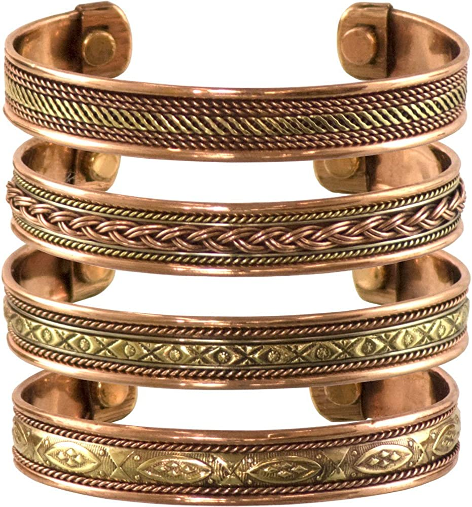 cosynee Set of 4 Tibetan Copper Bracelets Magnetic India Pattern Women's Men's Spiritual Yoga Jewelry