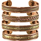 Set of 4 Tibetan Copper Bracelets Magnetic India Pattern Women's Men's Spiritual Yoga Jewelry