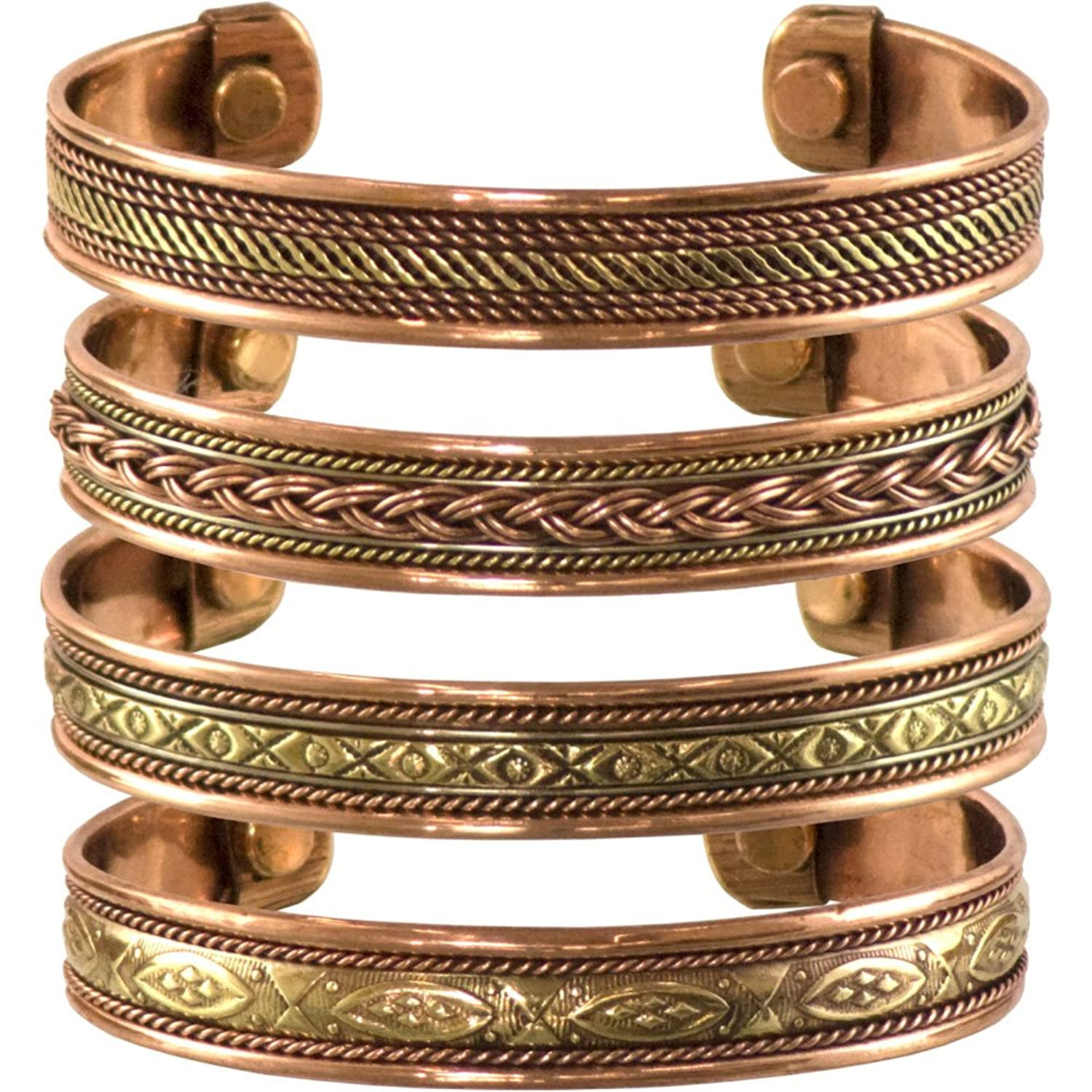 Bundle offer 18k gold plated amp white gold plated necklace 2 ring - Set Of 4 Tibetan Copper Bracelets Magnetic India Pattern Women S Men S Spiritual Yoga Jewelry