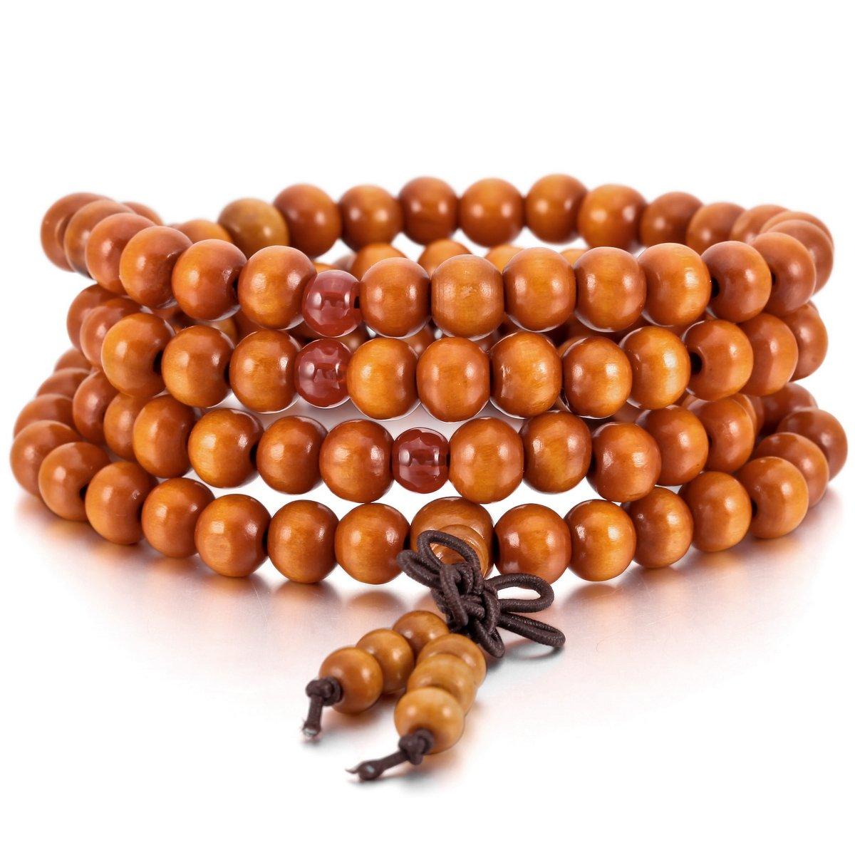 MOWOM Wood Bracelet Link Wrist Necklace Chain Tibetan Buddhist Sandalwood Bead Prayer Buddha Mala Chinese knot ca5020056
