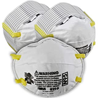 3M Particulate Respirator 8210, N95, Smoke, Dust, Grinding, Sanding, Sawing, Sweeping - 4 Packs of 20 (80 Respirators)