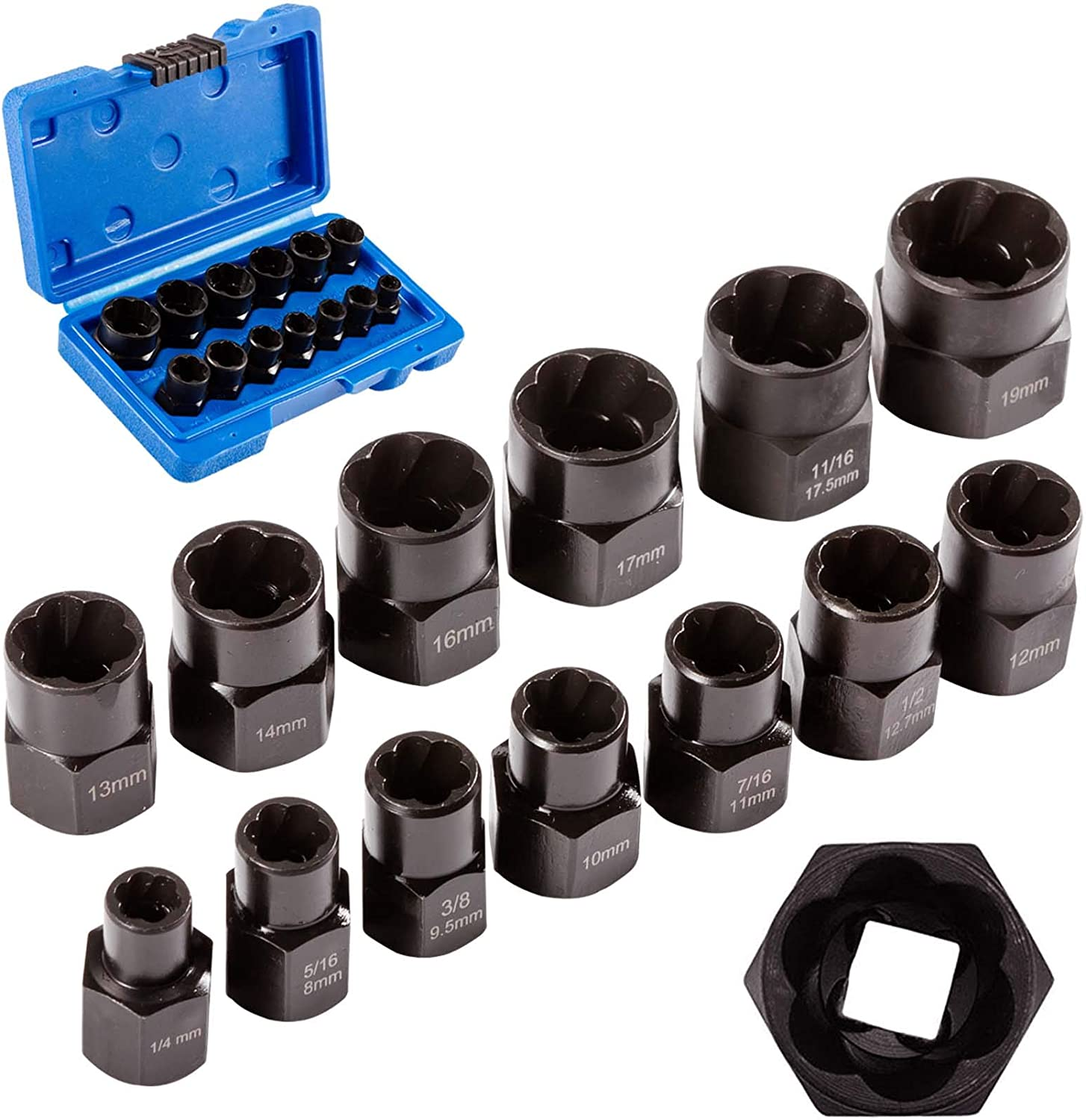 Bolt Extractor Nut Removal Tool Impact Bolt & Lug Nut Remover Set 14 Pieces Extractor Socket Set Automotive Tools