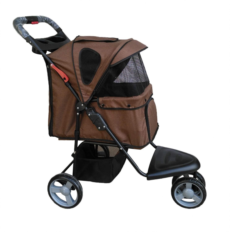 Brown JINLINE Lightweight Folding Pet Stroller Pet car seat (color   Brown)