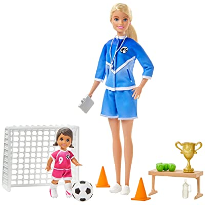 Barbie Soccer Coach Playset with Blonde Soccer Coach Doll, Student Doll and Accessories: Soccer Ball, Clipboard, Goal Net, Cones, Bench and More for Ages 3 and Up: Toys & Games