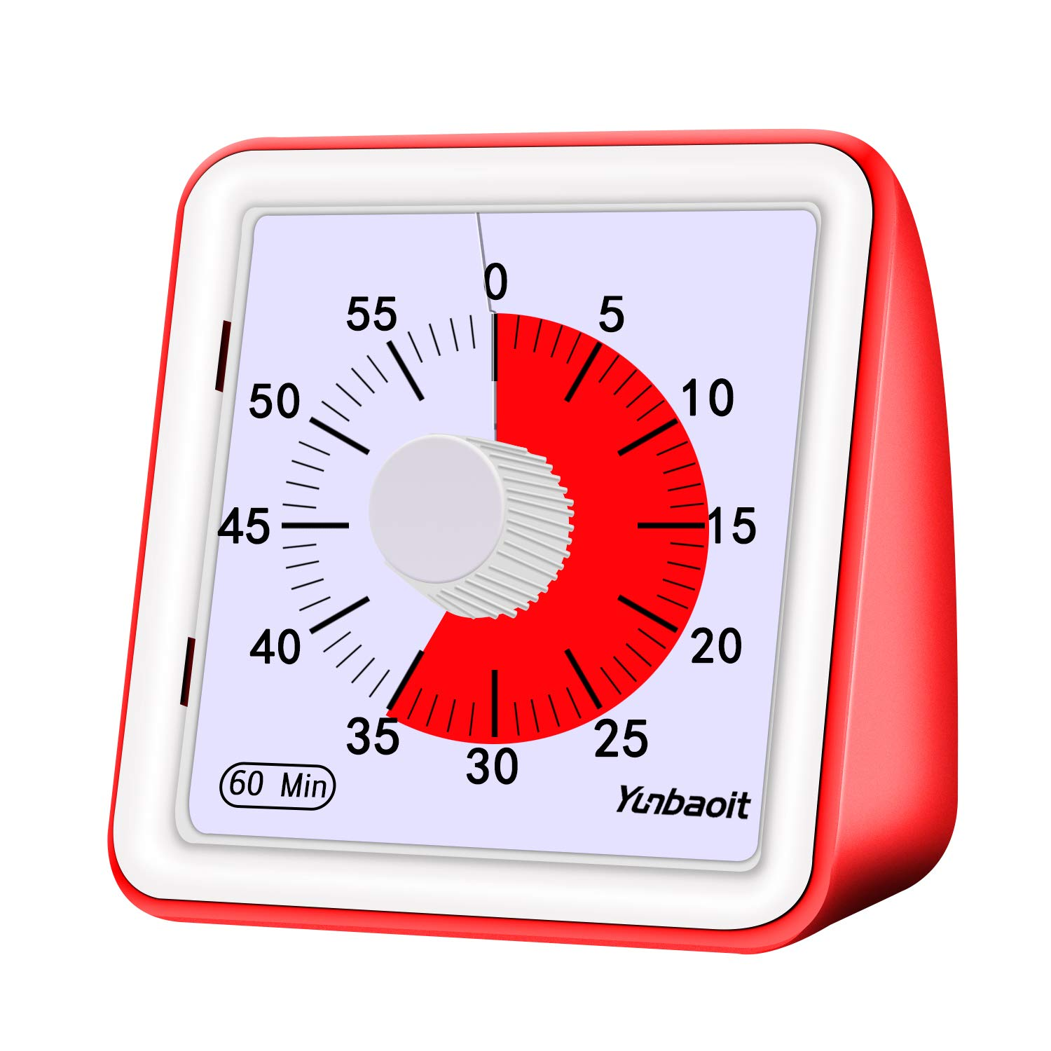 Yunbaoit 60-minute Visual Analog Timer,Countdown Clock,No Loud Ticking,Time Management Tool for Kids and Adults, Cooking, Red by Yunbaoit