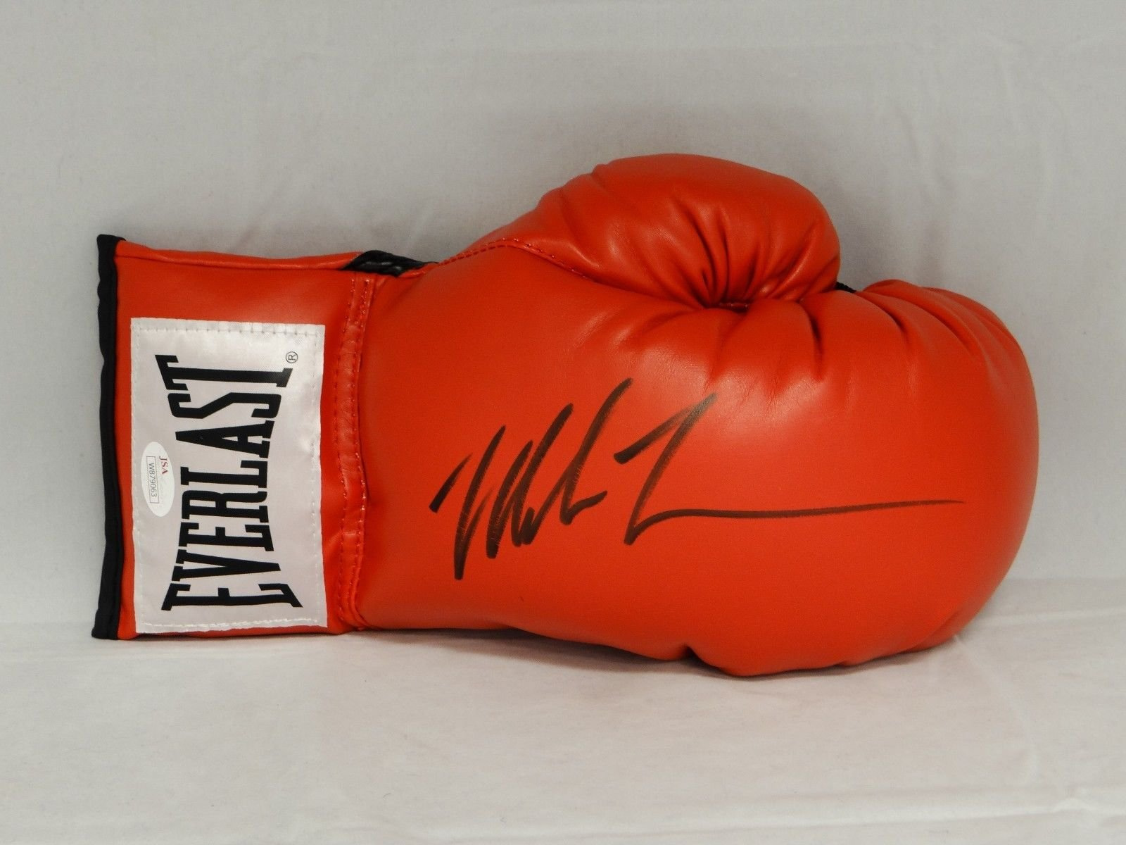 Mike Tyson Autographed Red Everlast Boxing Glove Black JSA W Auth