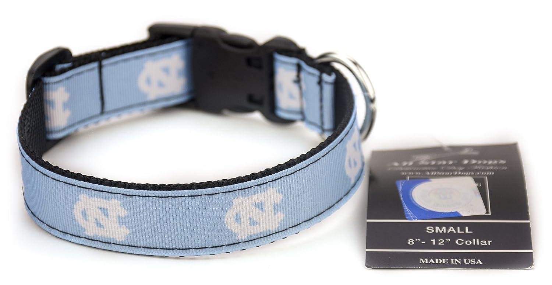 Med 1in w Fits 12in-20in North Carolina Tar Heels Ribbon Dog Collar Medium