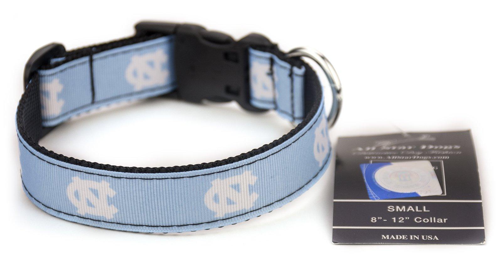 All Star Dogs North Carolina Tar Heels Ribbon Dog Collar - Extra Small