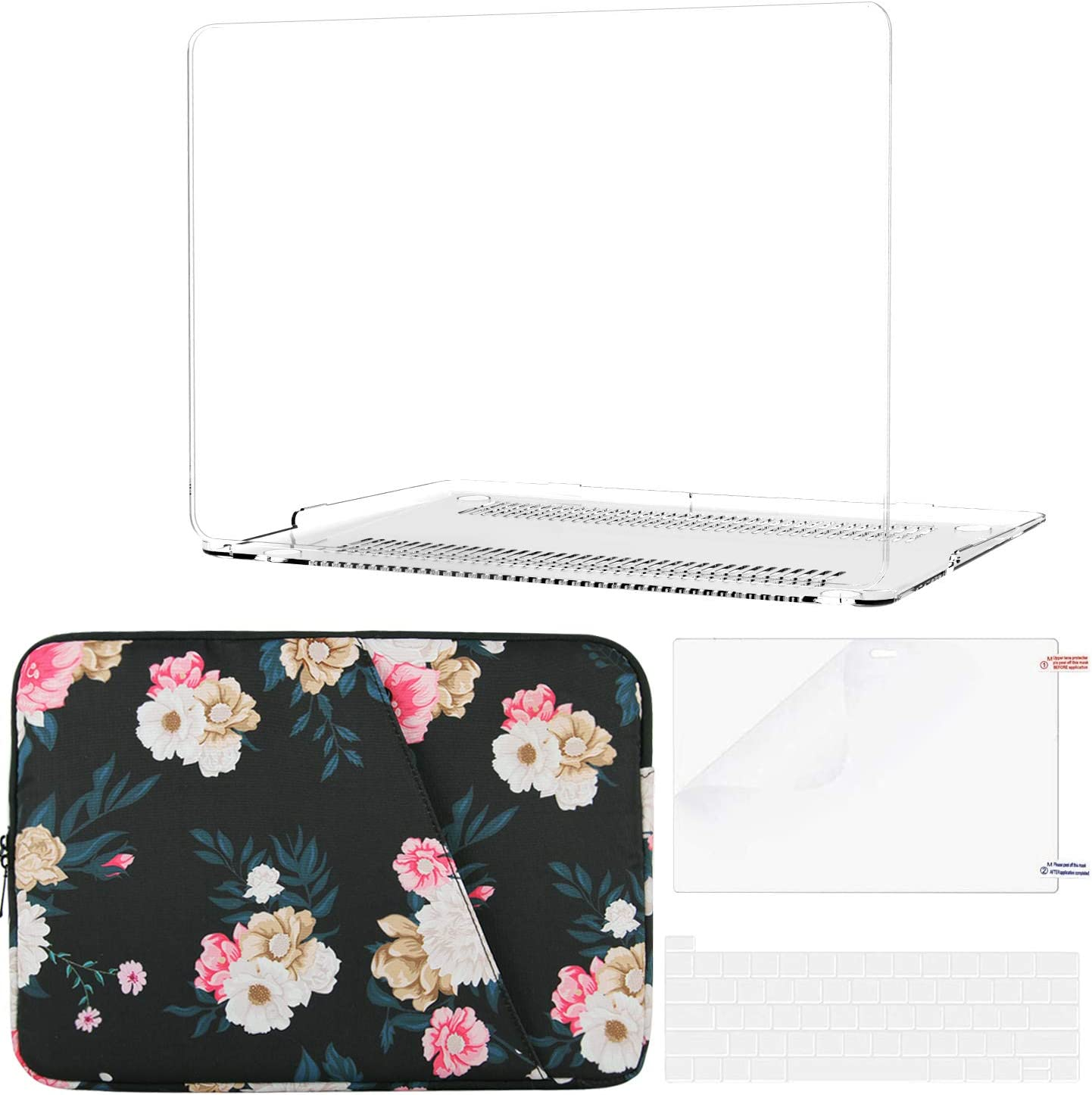 B BELK Compatible with MacBook Pro 2020 Case (A2338 M1 A2289 A2251) + Inner Soft Flower Sleeve Bag, MacBook Pro 13 inch Case 2020 with Touch Bar + Keyboard Cover + Screen Protector, Clear
