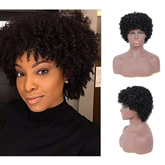 Amazon Com Short Black Afro Kinky Wigs For Black Women Natural Synthetic Curly Wig With Bangs Halloween Cosplay Costume Wigs With Wig Cap 1b Beauty