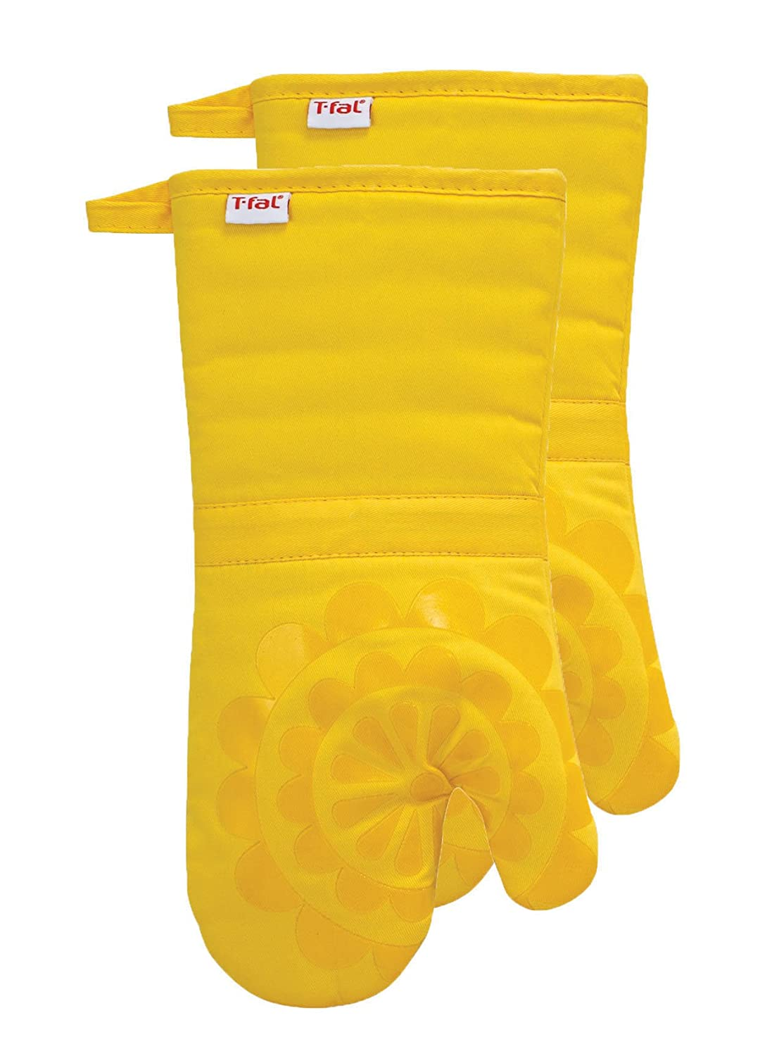 T-fal Textiles Silicone Printed Medallion 100% Cotton Twill Heat Resistent Non-Slip Grip Oven Mitt, 12.75 inches x 7 inches, Set of 2, Lemon Yellow