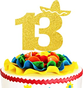 Fiesta 13th Birthday Cake Topper - Mexican Summer Fiesta Kids Birthday Party Décor - Cheers To Fabulous 13 - Gold Glitter Sombrero Thirteen Years Wedding Anniversary Decoration