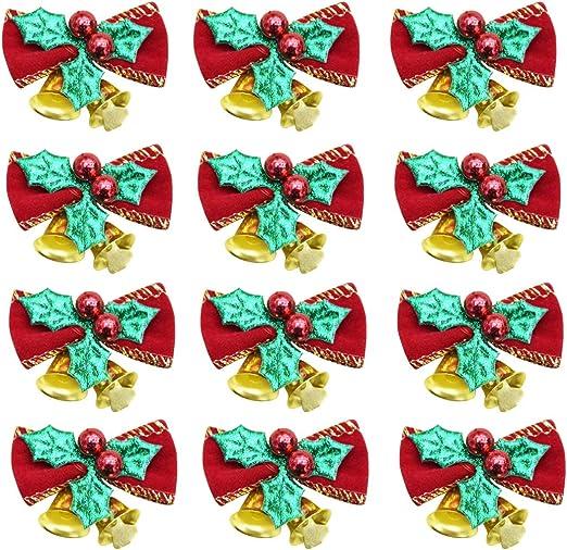 Árbol de Navidad colgante decoración adorno de árbol de Navidad con lazo y coronas de lazo de Navidad Pack de 12: Amazon.es: Hogar